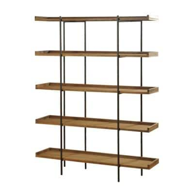 72 in. Metal and Natural Wood Bryan Keith 5-Shelf Bookcase