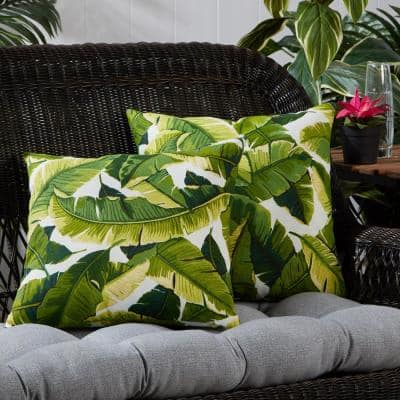 Palm Leaves White Square Outdoor Throw Pillow (2-Pack)
