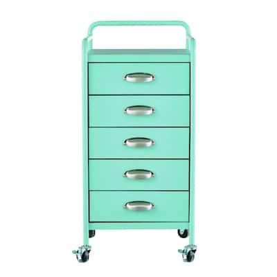Steel 5-Drawer Cart in Matte Blue