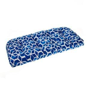 Cubed 44 in. x 19 in. x 5 in. Outdoor Rectangular Loveseat Cushion in Blue