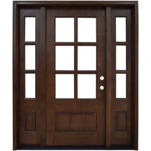 60 in. x 80 in. Savannah Clear 6 Lite LHIS Mahogany Stained Wood Prehung Front Door with Double 10 in. Sidelites