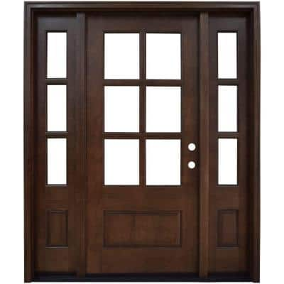 64 in. x 80 in. Savannah Clear 6 Lite LHIS Mahogany Stained Wood Prehung Front Door with Double 12 in. Sidelites
