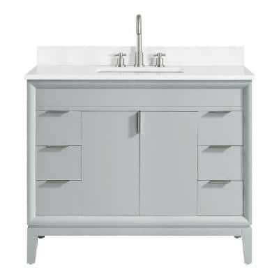 Emma 43 in. W x 22 in. D Bath Vanity in Dove Gray with Engineered Stone Vanity Top in Cala White with White Basin