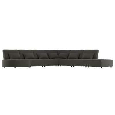 Domena 7-Piece Charcoal Gray Polyester 6-Seater L-Shaped Modular Sectional Sofa with Ottoman