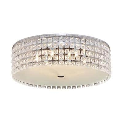 6-Light Steel and Chrome Ceiling Light with Glass Beads Shade and Frosted Glass Diffuser
