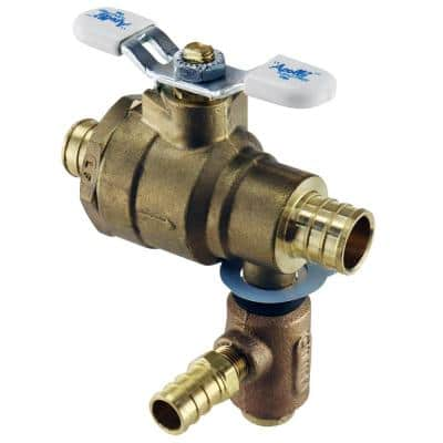 3/4 in. LF Brass Full Port PEX Barb Ball Valve with Integral Thermal Expansion Relief Valve 1/2 in. PEX Barb Outlet