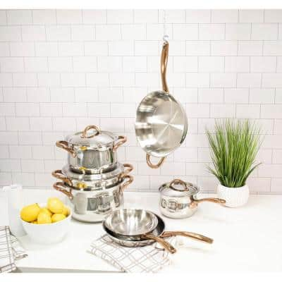 Ouro 11-Piece Stainless Steel Nonstick Cookware Set in Silver and Rose Gold