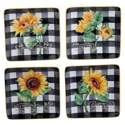 Sunflower Fields 4-Piece Seasonal Multicolored Earthenware 6 in. Canape Plate Set (Service for 4)