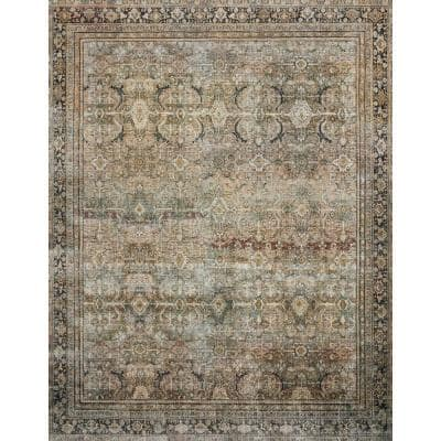 Layla Olive/Charcoal 7 ft. 6 in. x 9 ft. 6 in. Traditional 100% Polyester Runner Rug