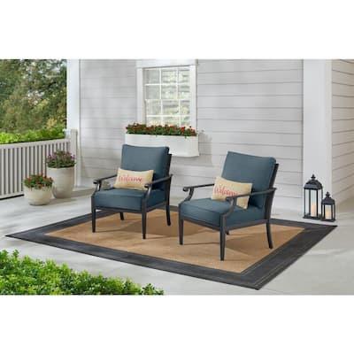 Braxton Park Black Steel Outdoor Patio Lounge Chair with Sunbrella Denim Blue Cushions (2-Pack)