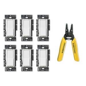 Diva LED Dimmer Switch, White (6-Pack), Klein 6-1/4 in. Wire Stripper/Cutter for 10-18 AWG Solid Wire