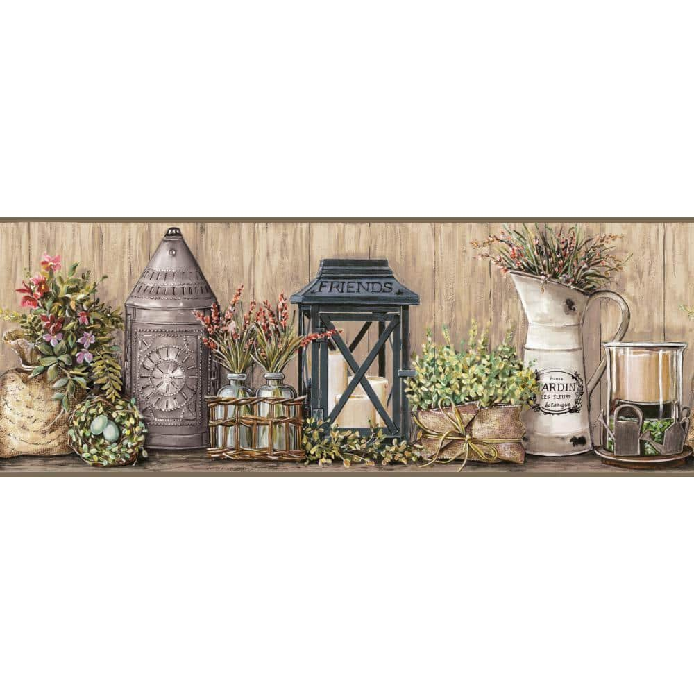 York Wallcoverings Country Keepsakes Garden Taupe Grey Black Green Aqua Purple Orange Wallpaper Border Ac4358bd The Home Depot