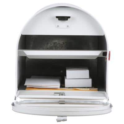 Marshall Large, Locking, Steel, Post-Mount Mailbox, White