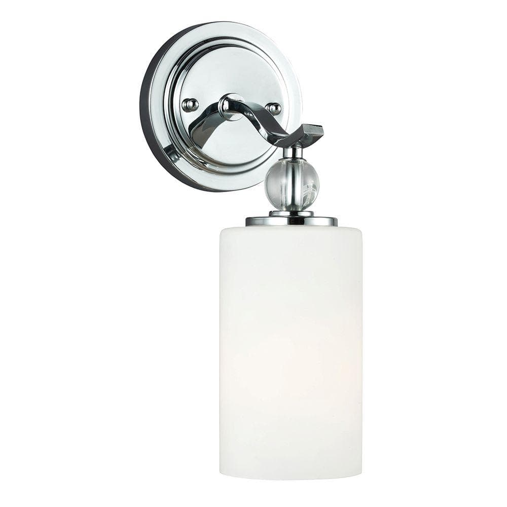 Sea Gull Lighting Englehorn 5 In W 1 Light Chrome Wall Bath Sconce With Inside White Painted Etched Glass 4113401 05 The Home Depot