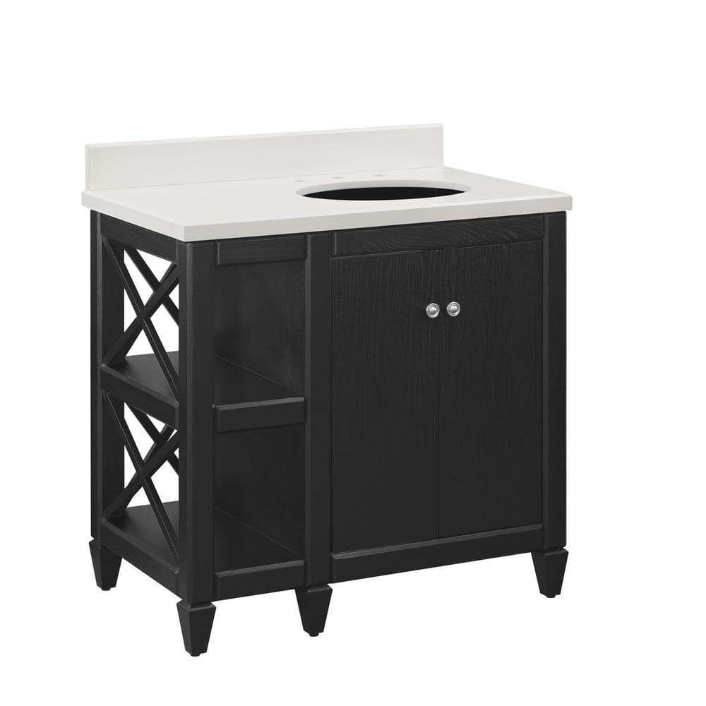 home decorators collection hayes contemporary 36 in bath vanity in black with cultured marble vanity top in off white with white sink 36bv7024 o134