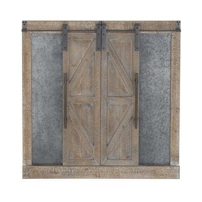 """Sliding Barn Door and Chalkboard"" Wooden Wall Art"
