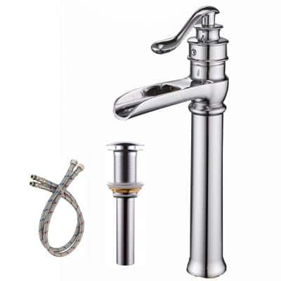 Waterfall Single Hole Single-Handle Vessel Bathroom Faucet With Pop-up Drain Assembly in Polished Chrome