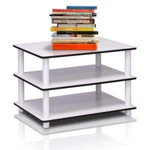 Just 24 in. Whiter Medium Rectangle Wood Coffee Table with Shelf