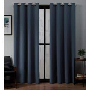 Vintage Indigo Thermal Grommet Blackout Curtain - 52 in. W x 84 in. L (Set of 2)