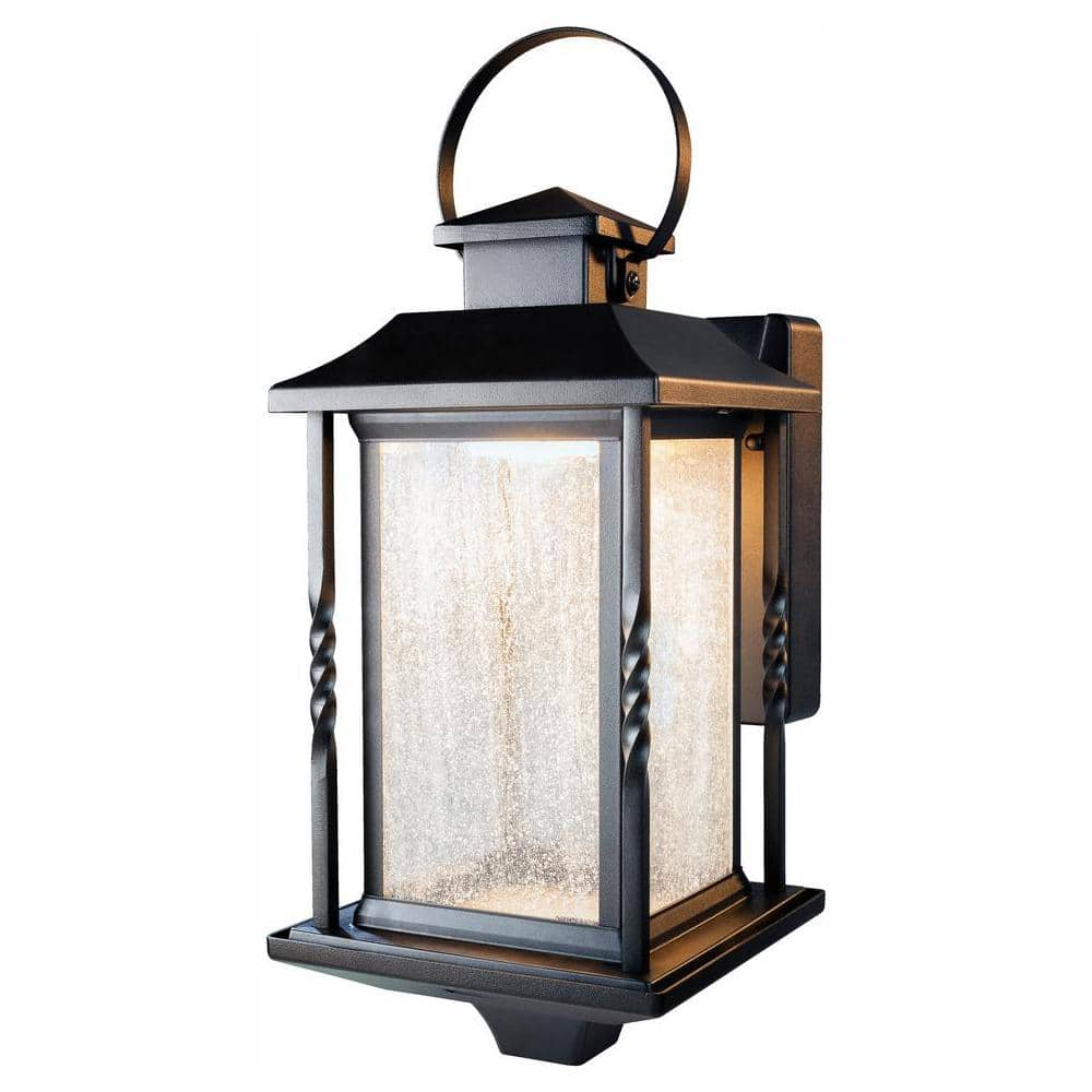 home decorators collection portable black outdoor integrated led wall lantern sconce hdi 4632 bk the home depot