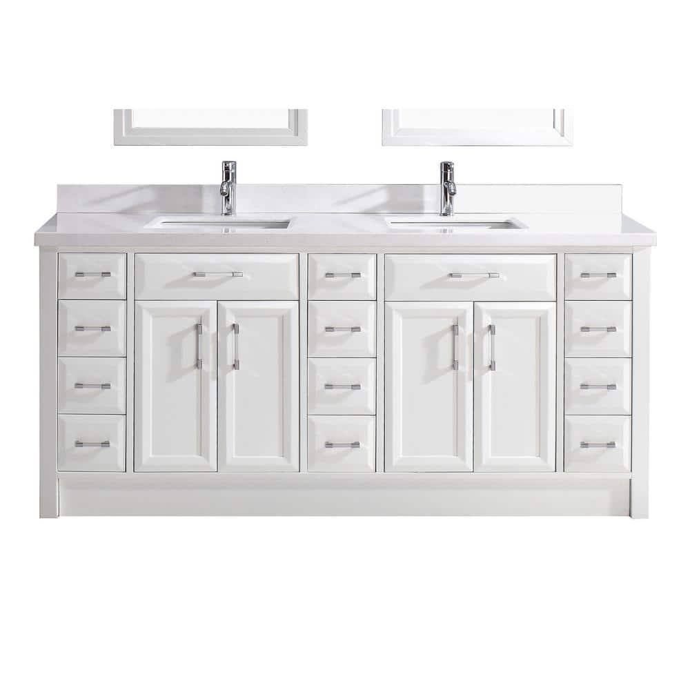 Studio Bathe Calais 75 In W X 22 In D Vanity In White With Solid Surface Vanity Top Calais 75 White The Home Depot