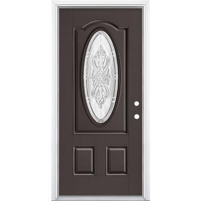 36 in. x 80 in. New Haven 3/4 Oval Left Hand Inswing Painted Smooth Fiberglass Prehung Front Exterior Door w/ Brickmold