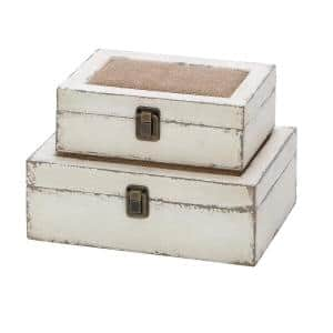 White Wood and Burlap Decorative Boxes, Set of 2: 10 in. x 7 in., 8 in. x 6 in.