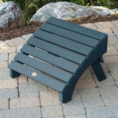 Adirondack Nantucket Blue Recycled Plastic Outdoor Folding Ottoman