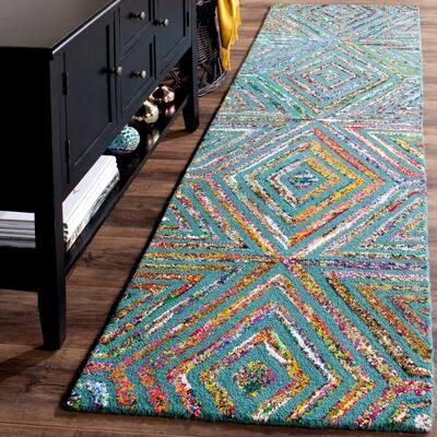 Nantucket Blue 2 ft. x 6 ft. Geometric Runner Rug