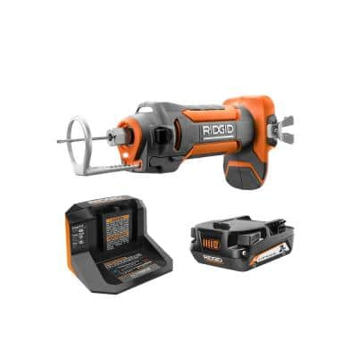 18V Cordless Drywall Cut-Out Tool Kit with Drywall Bits, Collets, Belt Hook, 18V Lithium-Ion 2.0 Ah Battery, and Charger