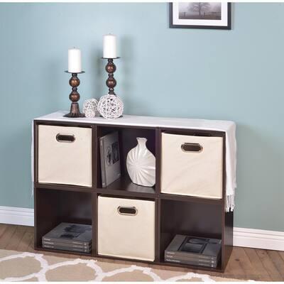 26 in. H x 39 in. W x 13 in. D Truffle Wood 6-Cube Storage Organizer