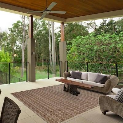 Langdon Chestnut 9 ft. x 9 ft. Striped Indoor/Outdoor Area Rug