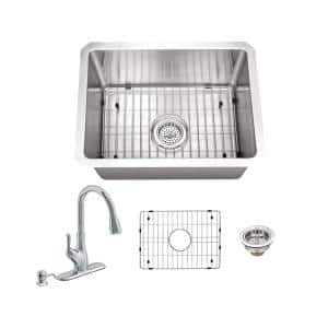 All-In-One Undermount 16-Gauge Stainless Steel 15 in. 0-Hole Single Bowl Radius Bar Sink with Gooseneck Kitchen Faucet