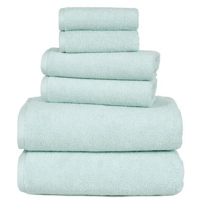 6-Piece Seafoam Solid 100% Cotton Bath Towel Set