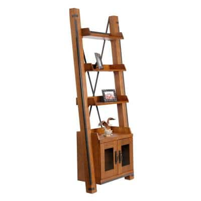 81 in. Industrial Brown/Black Wood 4-shelf Ladder Bookcase with Doors