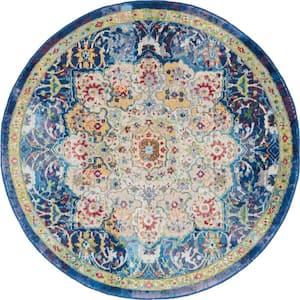 Global Vintage Blue/Multicolor 4 ft. x 4 ft. Persian Vintage Round Area Rug