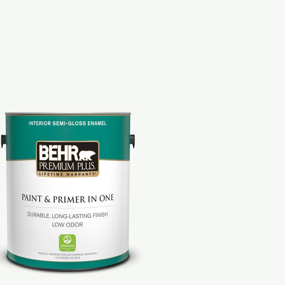 BEHR PREMIUM PLUS 1 gal. #PPU18-06 Ultra Pure White Semi-Gloss Enamel Low Odor Interior Paint and Primer in One