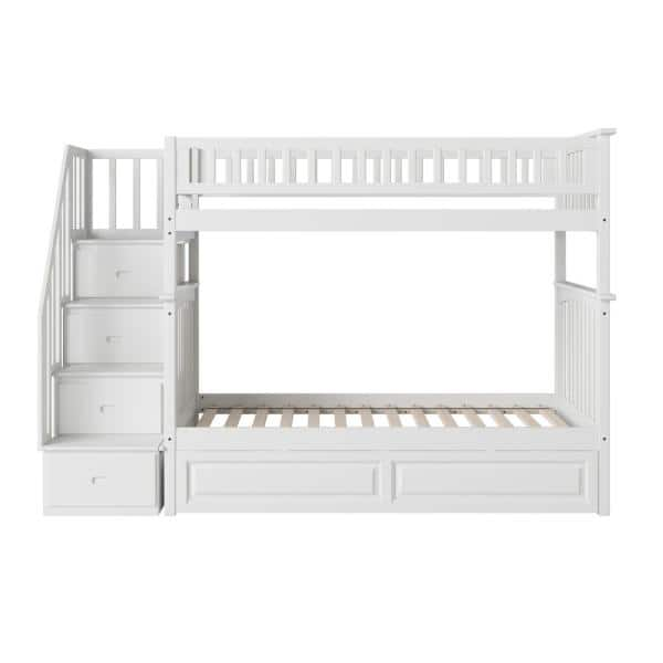 Atlantic Furniture Columbia Staircase Bunk Bed Twin Over Twin with Twin Size Raised Panel Trundle Bed in White | The Home Depot