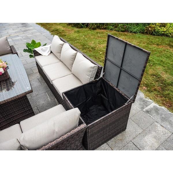 Direct Wicker Beverly 7 Piece Steel, Patio Furniture 3 Piece Sectional Sofa Resin Wicker Beige