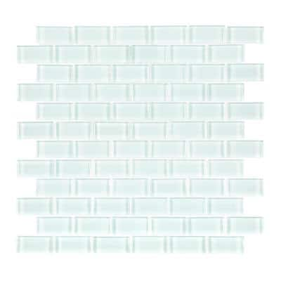 Glacier Ice Green 11.625 in. x 11.75 in. Interlocking Gloss Glass Mosaic Tile (.948 sq. ft./Each)