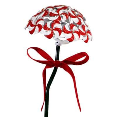 20 in. Tall Solar Candy Cane Pathway Stakes with LED Lights, Set of 2, Red/White