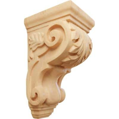 4 in. x 3-1/2 in. x 7 in. Unfinished Wood Red Oak Small Traditional Acanthus Corbel