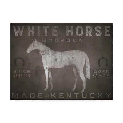 White Horse with Words by Ryan Fowler Floater Frame Drink Wall Art 24 in. x 32 in.
