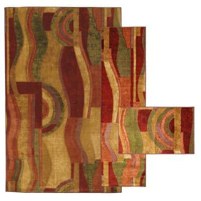 Piscasso Wine 8 ft. x 10 ft. Abstract Area Rug