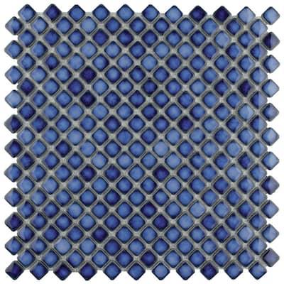 Hudson Diamond Sapphire 12 in. x 12 in. Porcelain Mosaic Tile (10.85 sq. ft. / Case)