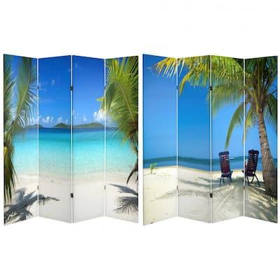 6 ft. Blue 4-Panel Room Divider