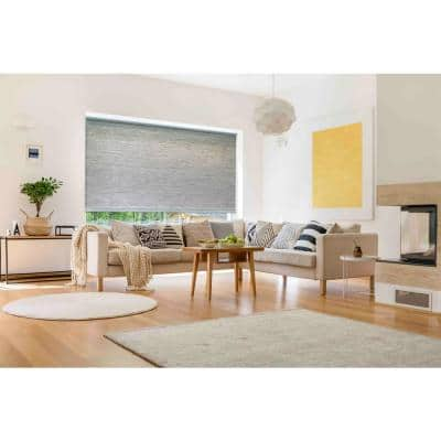 Roller Shades Grey Cordless Light Filtering Natural Fiber Fabric 55 in. W x 72 in. L