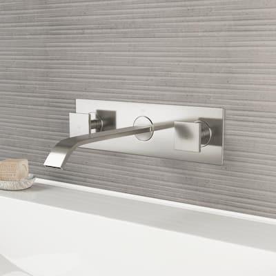 Titus 2-Handle Wall Mount Bathroom Faucet in Brushed Nickel