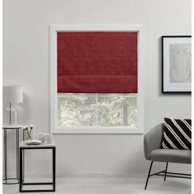 Acadia Red Cordless Total Blackout Roman Shade 27 in. W x 64 in. L