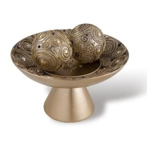Golden Swirl Decorative Polyresin Bowl With Spheres